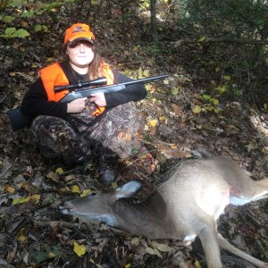 Oct 2019 - oldest daughters first deer.. big old mountain doe.. shot it with her muzzleloader